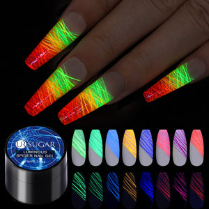 UR SUGAR Luminous Spider Nail Gel Pulling Silk Fluorescent Rainbow Glow In The Dark Soak Off UV Painting Spider Nail Gel Varnish - Hyebeauty
