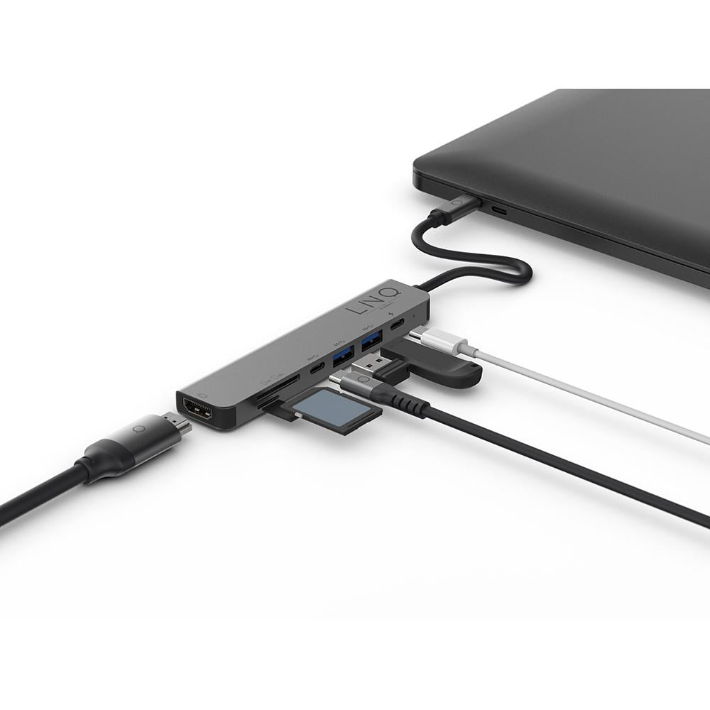 Linq by Elemets 7in1 USB-C Multiport HUB (HDMI / USB-C PD / USB-A / SD&TF kortlæser)