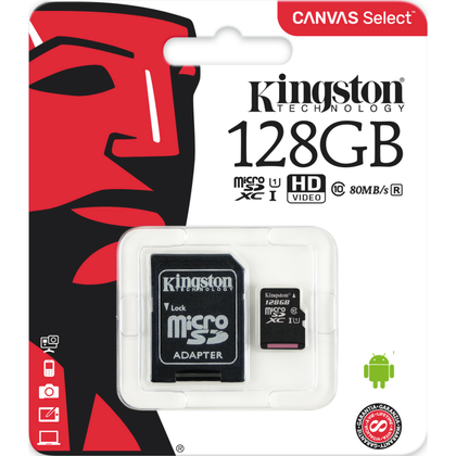 Kingston · MicroSDHC inkl. adapter · 128GB