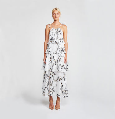 APPARITION TIERED MIDI DRESS