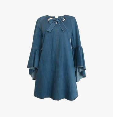 Bell-sleeves Trapeza Dress