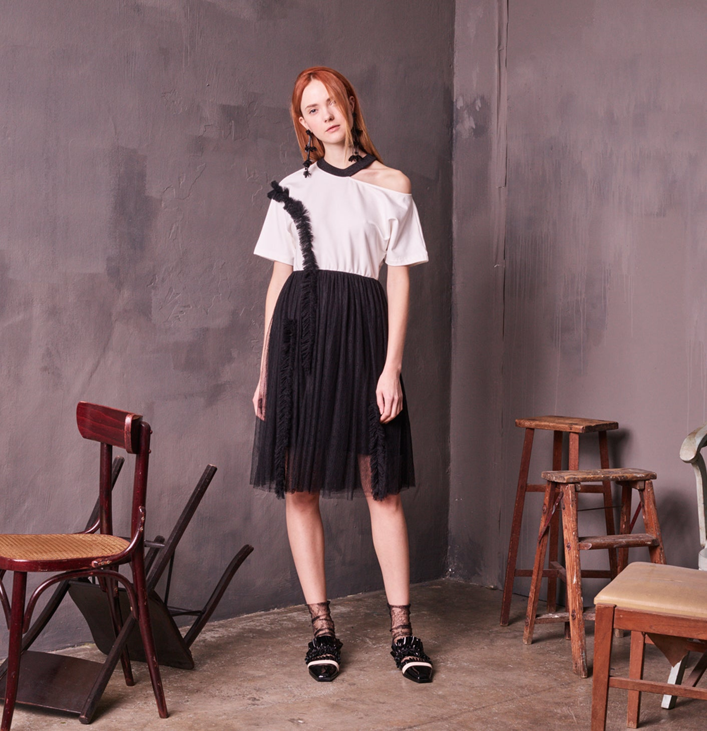 COTTON JERSEY TULLE DRESS