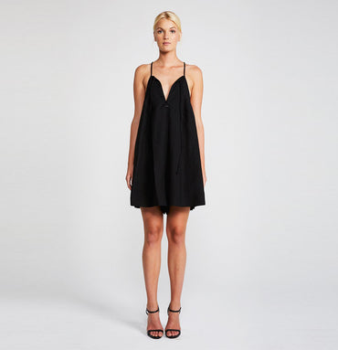 DAWN TRAPEZE MINI ROMPER - BLACK