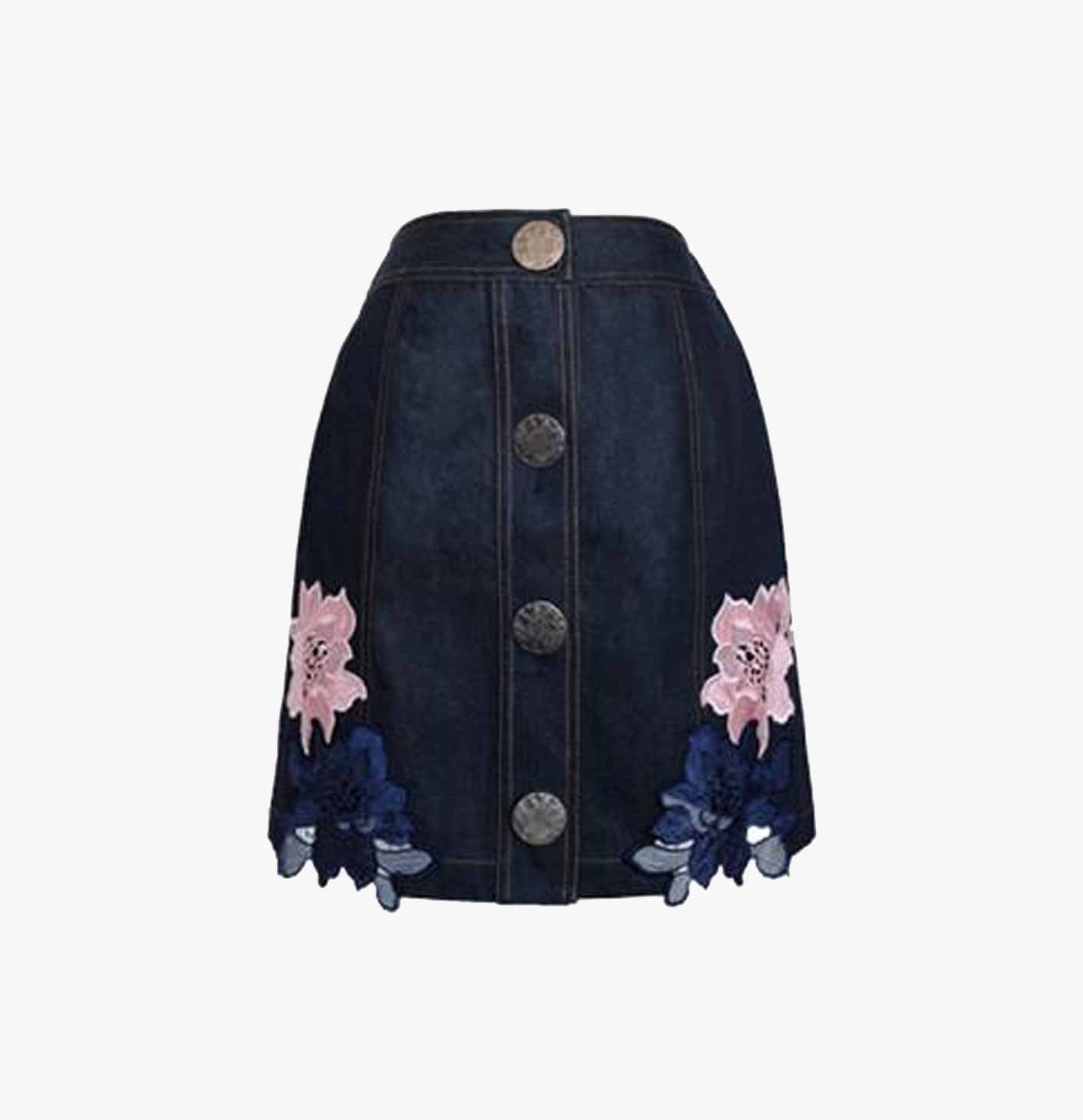 DENIM SKIRT WITH LACE APPLIQUE