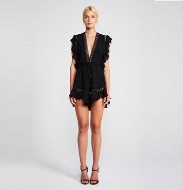 ECLIPSE DRAWSTRING PLAYSUIT - BLACK