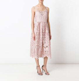 GUIPURE LACE CAMI DRESS (PINK)