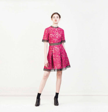 Dress in Argentan Lace (Tulip Pink)