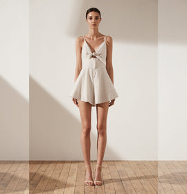 SABBIA TIE FRONT PLAYSUIT - STONE