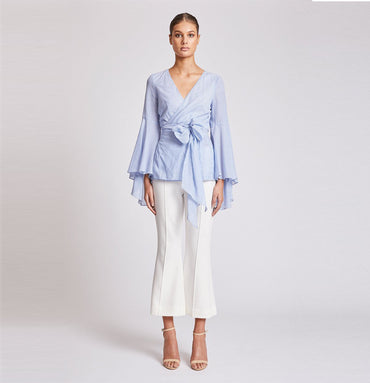 ST MARTIN FLARED SLEEVE WRAP TOP