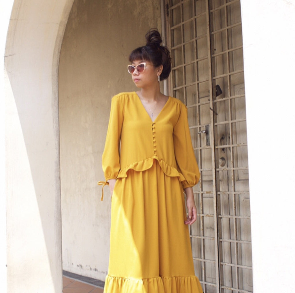 DROP WAIST CREPE DRESS