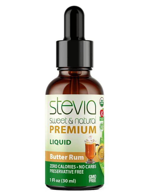 BUTTER RUM Premium Quality STEVIA Drops | Organic Liquid STEVIA Sweetener | Best Sugar Substitute |100% Pure Extract| All Naturally Sweet| Non Bitter, 0 Calorie, Non-GMO, Diabetic & Keto Friendly (1oz)