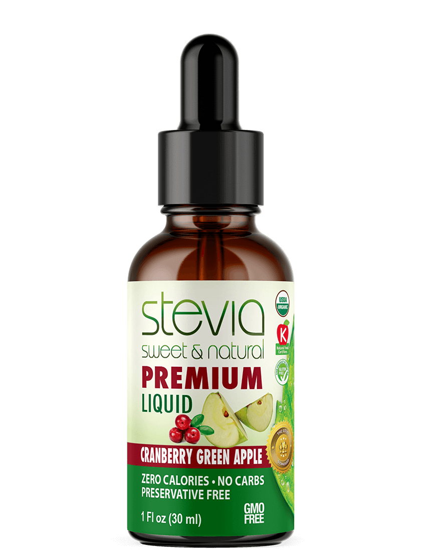 Cranberry Green Apple Premium Quality Stevia Drops | Organic Liquid STEVIA Sweetener | Best Sugar Substitute | 100% Pure Extract | All Naturally Sweet| Non Bitter, 0 Calorie, Non-GMO, Diabetic & Keto Friendly (1oz)