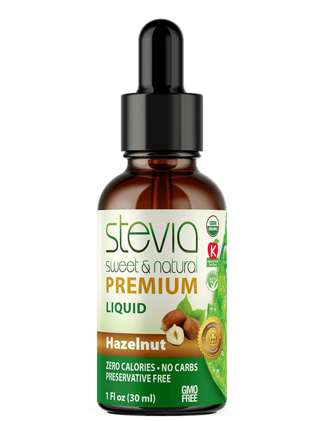 HAZELNUT Premium Quality STEVIA Drops | Organic Liquid STEVIA Sweetener | Best Sugar Substitute | 100% Pure Extract| All Naturally Sweet| Non Bitter, 0 Calorie, Non-GMO, Diabetic & Keto Friendly (1oz)