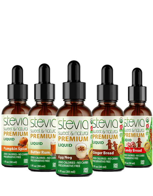 Holiday & Seasonal Special  (5-Pack ) Bundle | Premium Stevia drops | 5 Flavors in Glass Bottles | All Natural | Non-Bitter | NON-GMO | Diabetic & Keto Friendly (1oz)