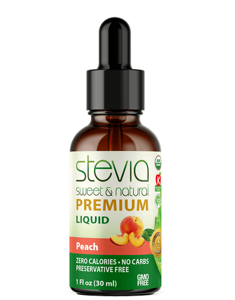 PEACH Premium Quality STEVIA Drops | Organic Liquid STEVIA Sweetener | Best Sugar Substitute | 100% Pure Extract| All Naturally Sweet| Non Bitter, 0 Calorie, Non-GMO, Diabetic & Keto Friendly (1oz)