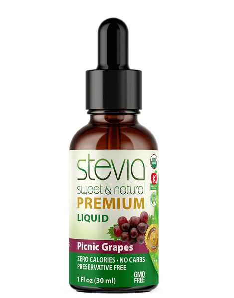 Picnic Grapes  Premium Quality STEVIA Drops | Organic Liquid STEVIA Sweetener | Best Sugar Substitute | 100% Pure Extract| All Naturally Sweet| Non Bitter, 0 Calorie, Non-GMO, Diabetic & Keto Friendly (1oz)