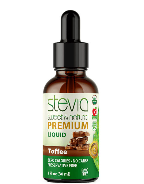 Toffee Premium Quality STEVIA Drops | Organic Liquid STEVIA Sweetener | Best Sugar Substitute |100% Pure Extract| All Naturally Sweet| Non Bitter, 0 Calorie, Non-GMO, Diabetic & Keto Friendly (1oz)