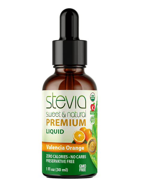 VALENCIA ORANGE Premium Quality STEVIA Drops | Organic Liquid STEVIA Sweetener | Best Sugar Substitute |100% Pure Extract| All Naturally Sweet| Non Bitter, 0 Calorie, Non-GMO, Diabetic & Keto Friendly (1oz)