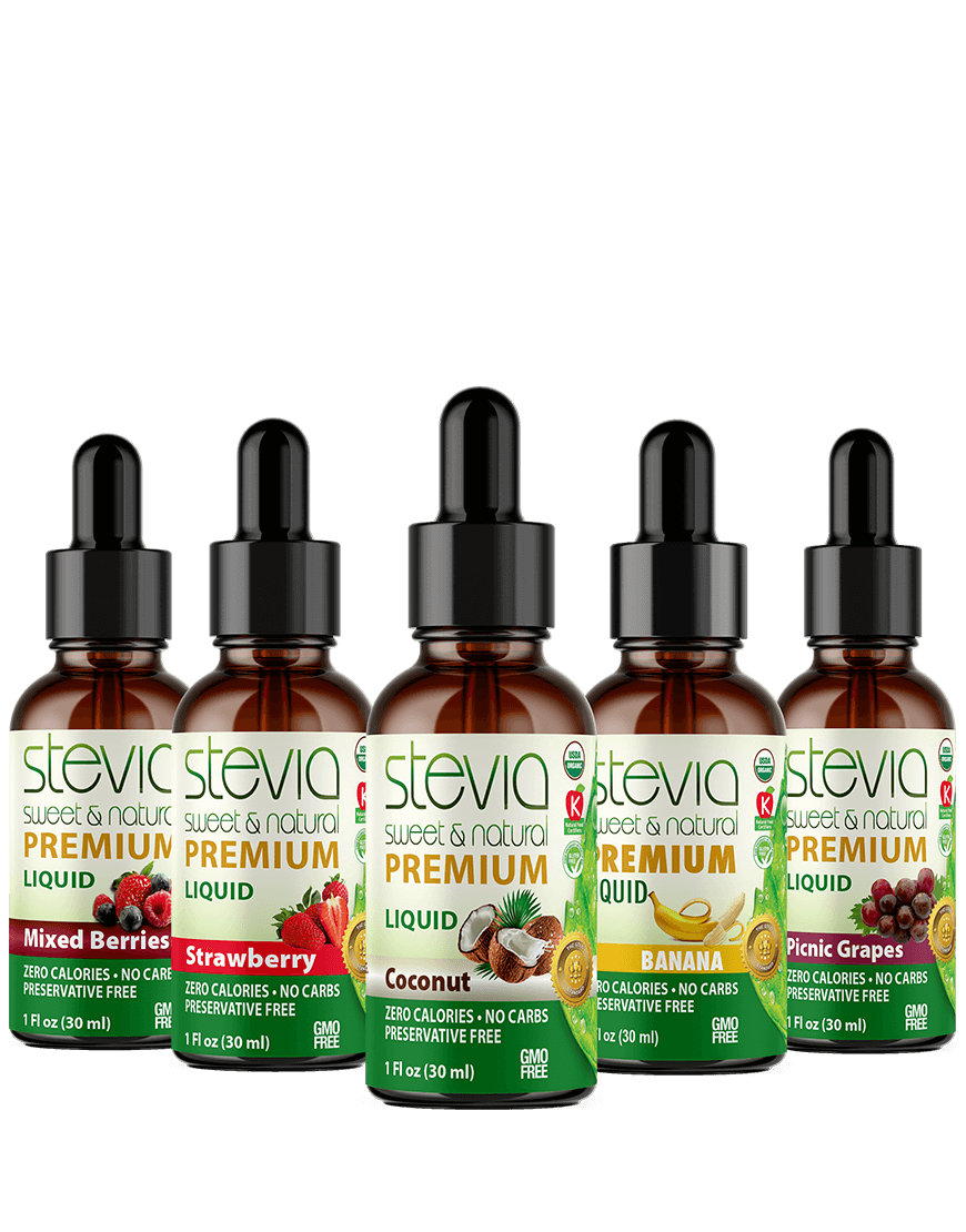 Stevia Intl Best Selling (5 Pack ) Tropical Fresh Fruits Bundle | Premium Stevia drops | 5 Flavors in Glass Bottles | All Natural | Non-Bitter | NON-GMO | Diabetic & Keto Friendly  (1oz)