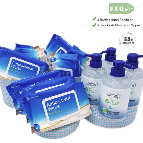 Klerzix four bottles alcohol hand sanitizer gel and ten packs antibacterial disinfectant wipes