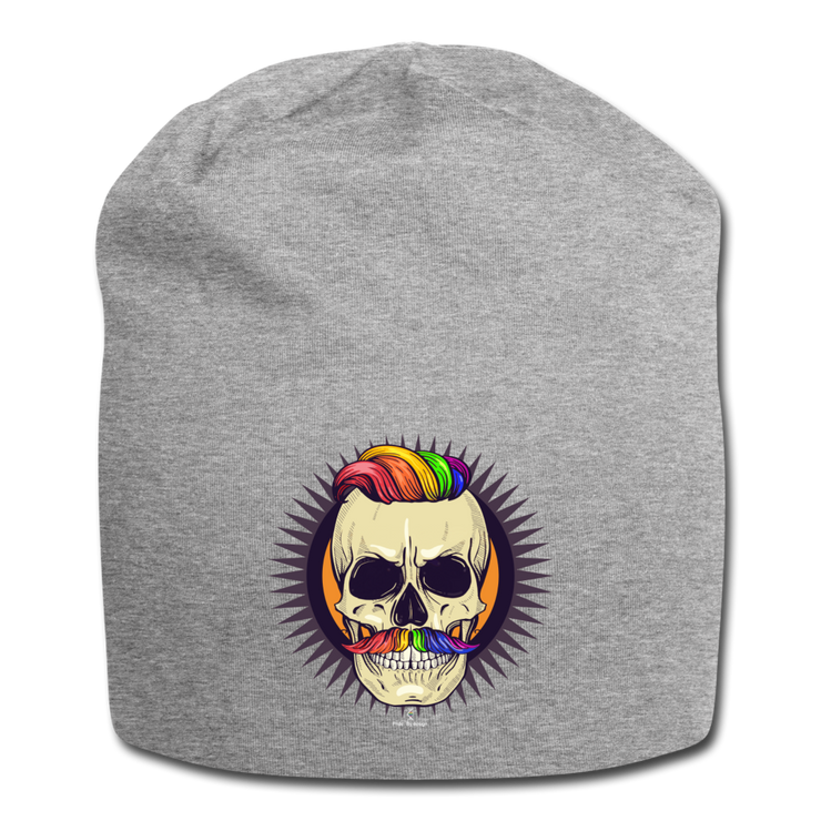 Hipster Skull Beanie - heather gray