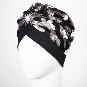 Ameerah | White & Silver Beaded Sequin Turban Headpiece