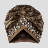 Isabella | Brown Faux Fur - Crystal Embroidered Turban Headpiece