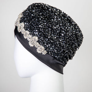 Bella | Black & Silver Beaded Sequin - Crystal Embroidered Turban Headpiece