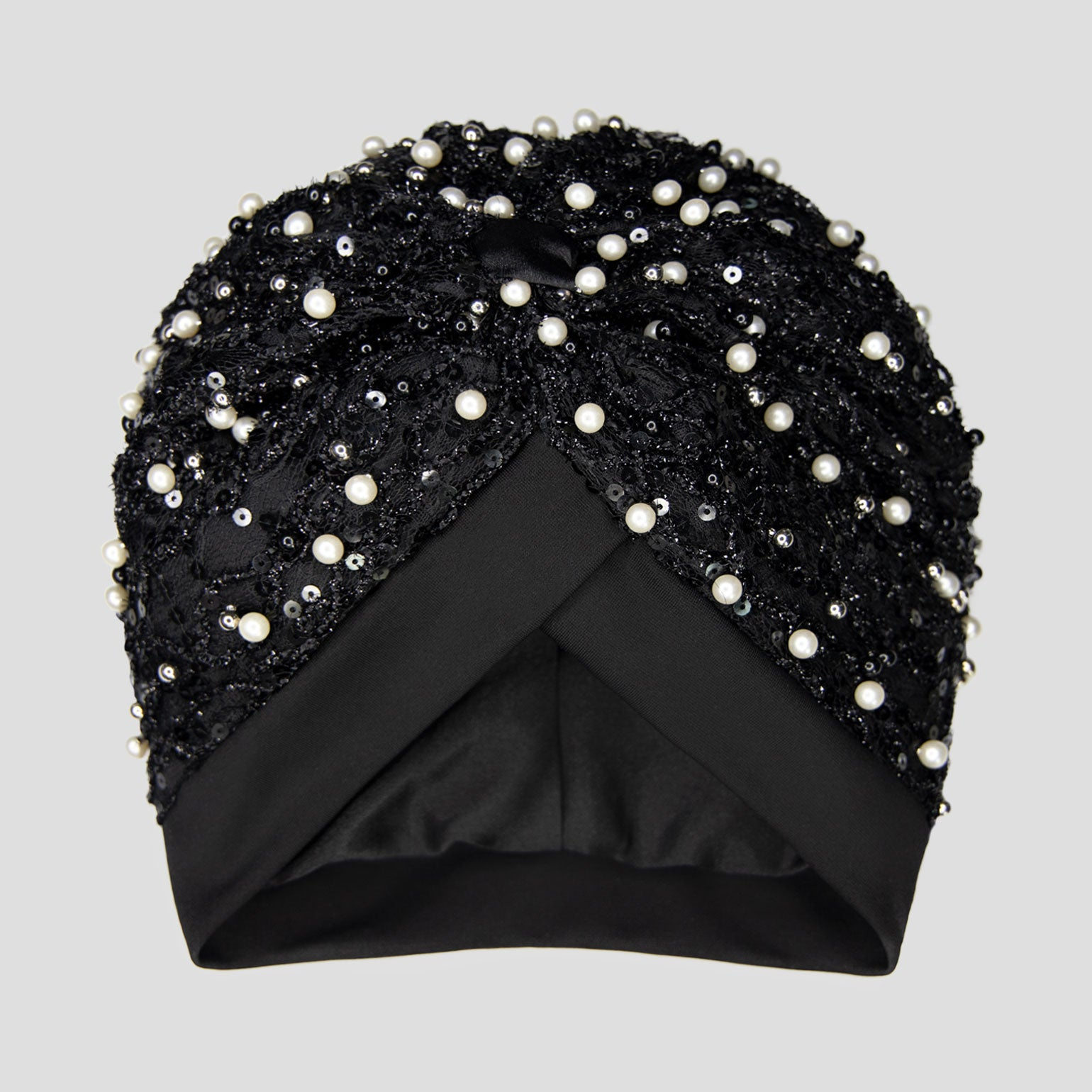 Tahira | Pearl & Black Beaded Sequin Turban Headpiece