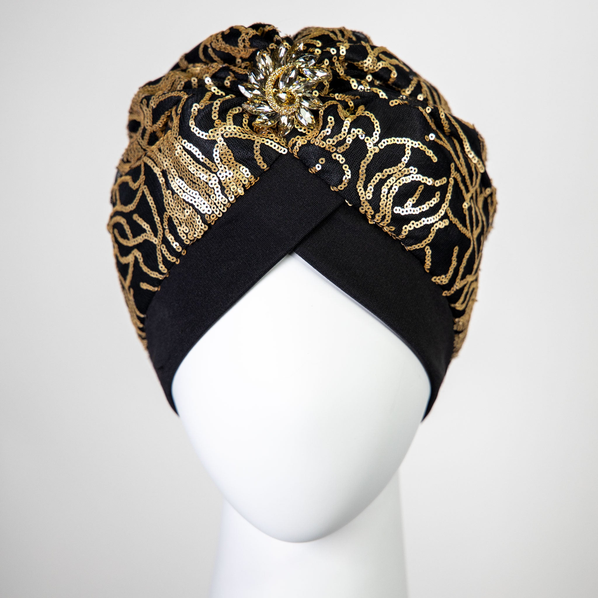 Ariella | Gold Beaded Sequin Turban Headpiece