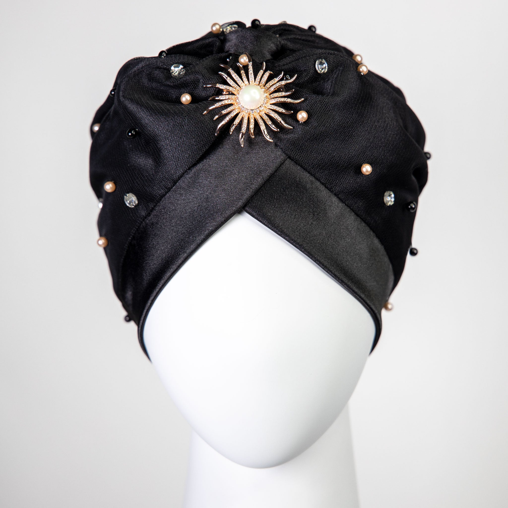 Lola | Pearl & Crystal Embellished Turban Headpiece