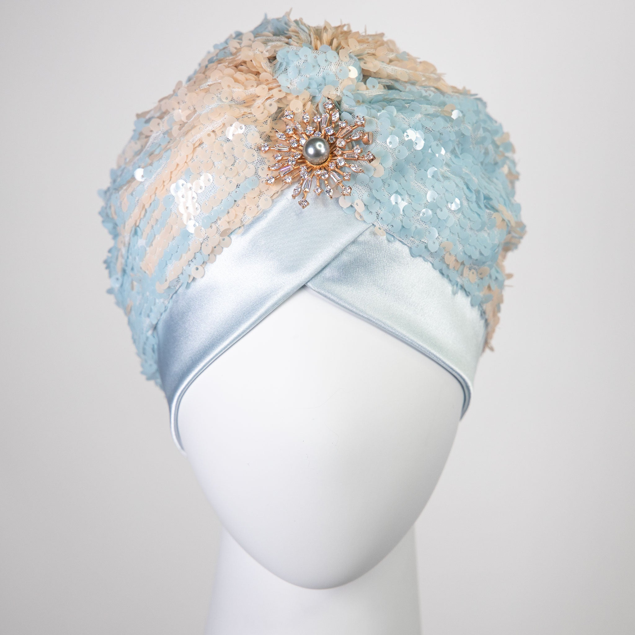 Skylar | Baby Blue & Baby Pink Sequin Turban Headpiece