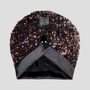 Suri | Black & Red Sequin Turban Headpiece