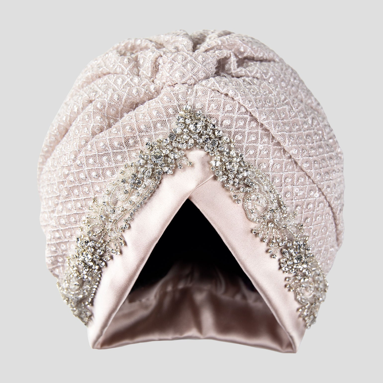 Alina | Light Pink - Crystal Embroidered Turban Headpiece