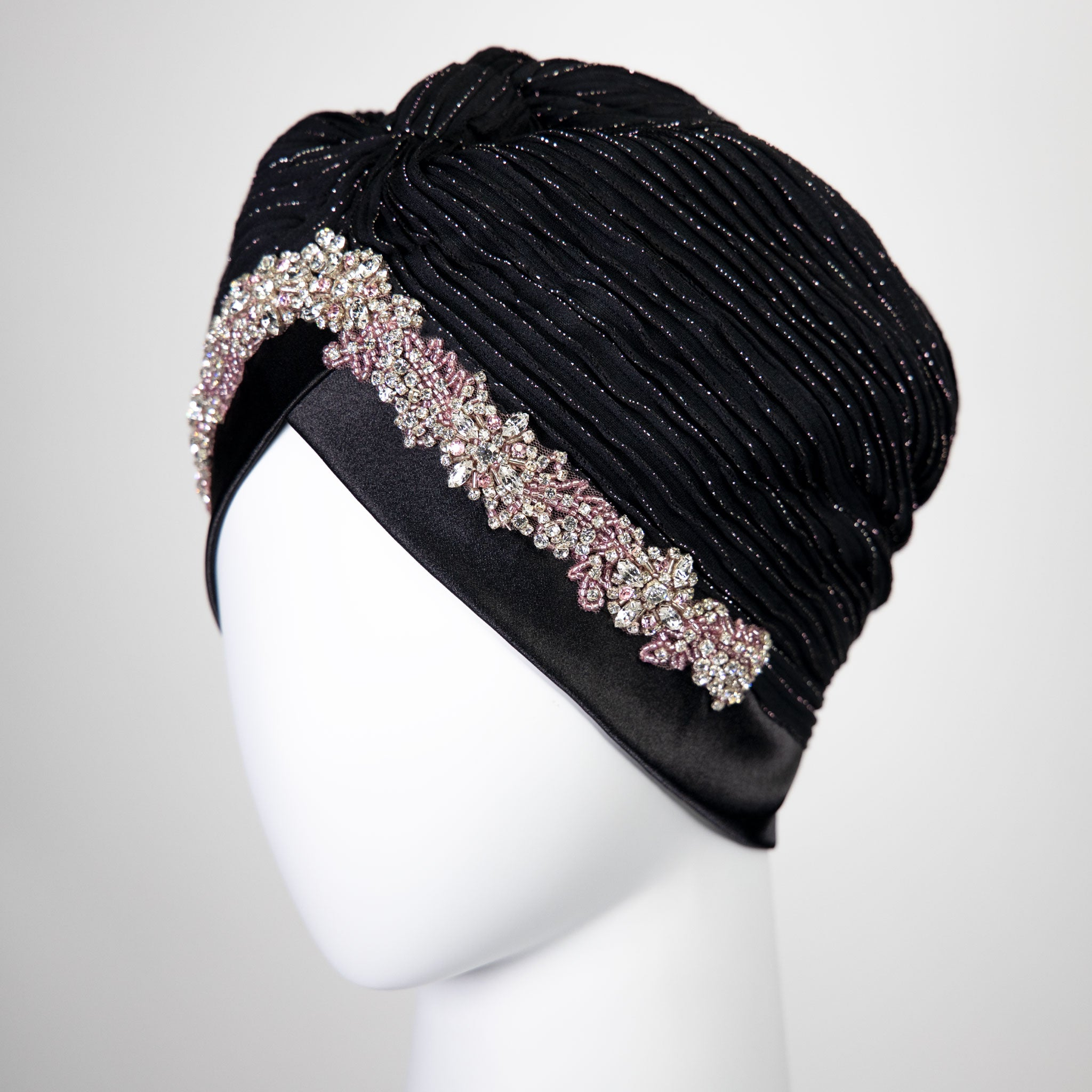 Amelia | Embellished Silver and Pink Lining - Crystal Embroidered Turban Headpiece