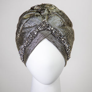 Alyssa | Gold Lamé - Crystal Embroidered Turban Headpiece