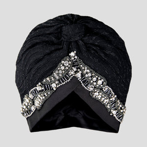Ava | Black - Crystal Embroidered Turban Headpiece