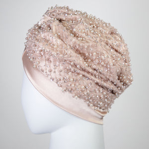 Roza | Pink Sequin and Pearl Beaded Turban Headpiece