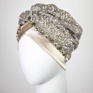 Ella | Gold & Silver Beaded Sequin - Crystal Embroidered Turban Headpiece