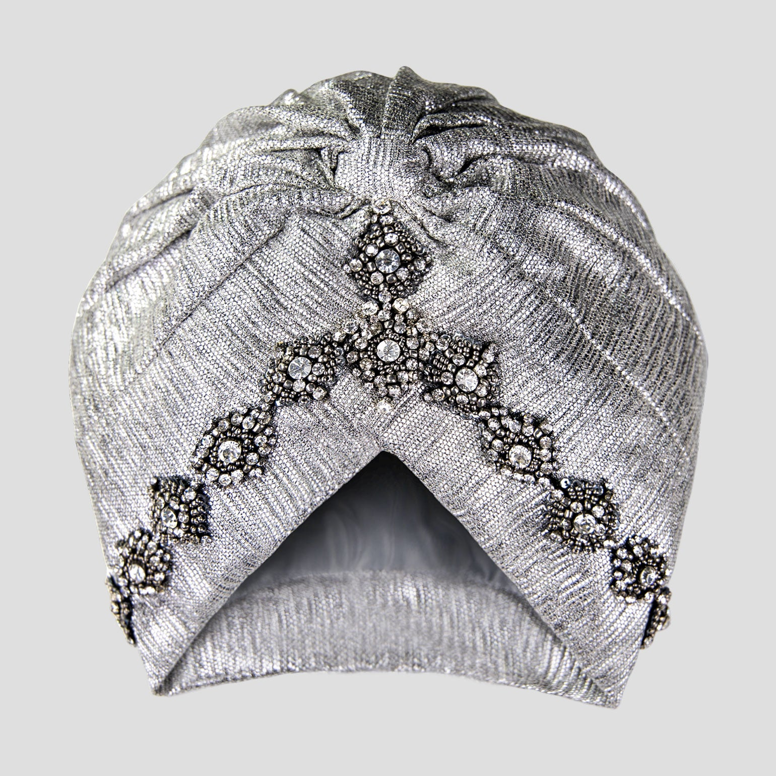 Luna | Silver Lamé - Crystal Embroidered Turban Headpiece