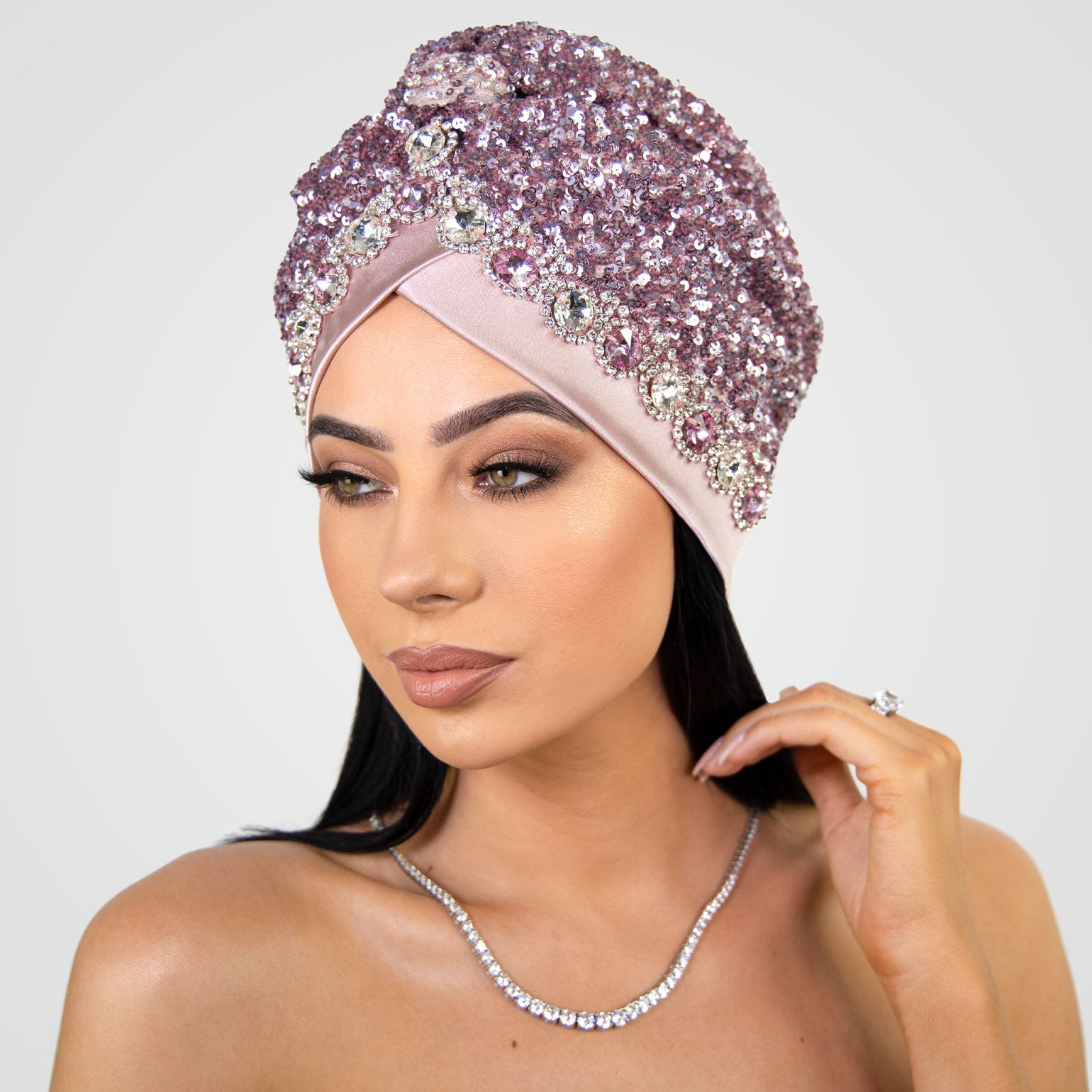 Leily | Pink & Silver Beaded Sequin - Crystal Embroidered Turban Headpiece