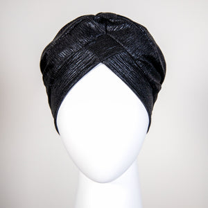 Audrey | Black Lamé Turban Headpiece