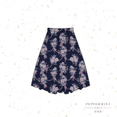 Tea Florals Midi Skirt Evening (Dark Blue)