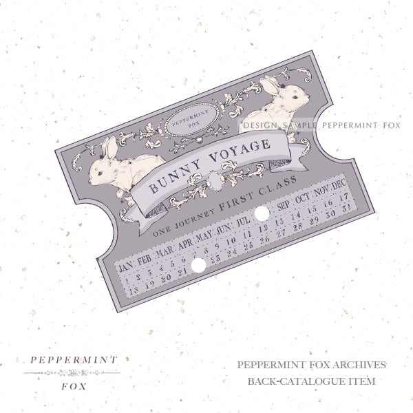 From the Archive Bunny Voyage Ticket Brooch (Limited Lavender Colour)