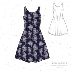 Tea Florals Signature Dress Evening (Dark Blue)