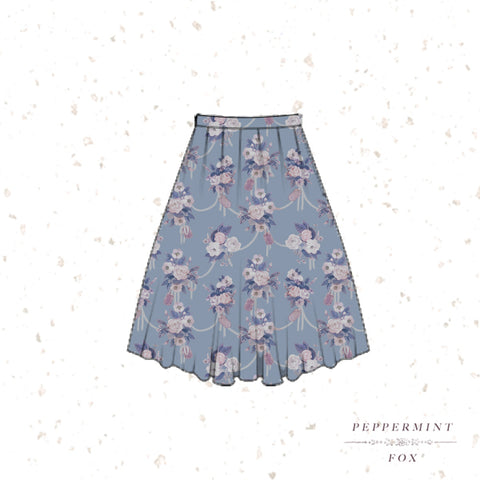 Tea Florals Midi Skirt Afternoon (Light Blue)