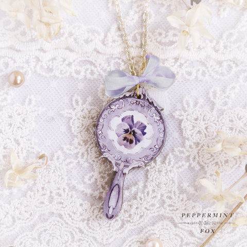 Violet Mirror Necklace (Double-Sided)