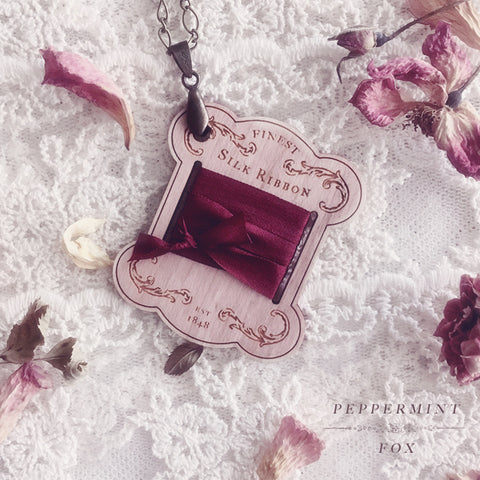 Vintage Ribbon Card Necklace