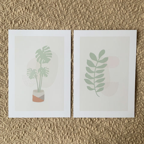 Leaf and Cheese Plant Prints A4
