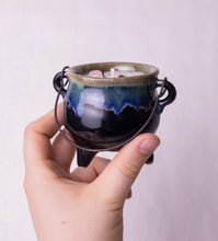 Load image into Gallery viewer, 8 oz. Green Cauldron Candle - Oakmoss, Amber, Rosemary and Sage